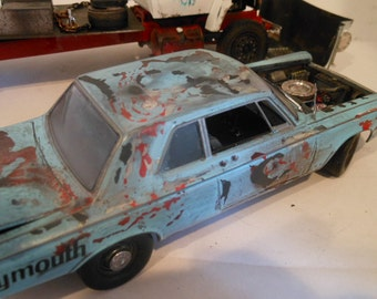 Scale Model Auto, Blue Car, 1/24 Scale Model, Classicwrecks, Barn Find