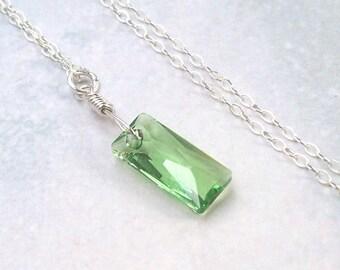 Peridot Necklace, Green Crystal Necklace, sterling silver, baguette, Swarovski crystal, birthstone, geometric