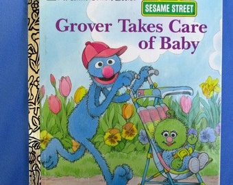 HOLIDAY SALE 20% Off Grover Takes Care of Baby, Sesame Street Little Golden Book