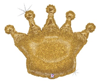 """Crown Balloon Large 36"""" Mylar Balloon Queen of the Day Prince King Princess Glittering Gold Crown Mother's Day"""