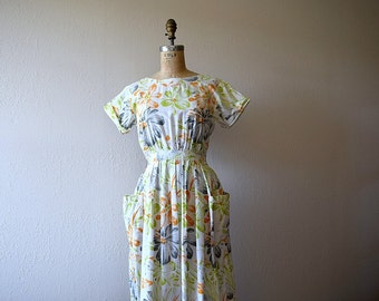 1980s floral print dress . vintage 80s open back dress