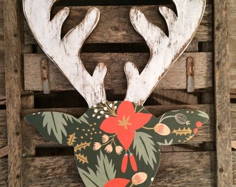 Wood deer cutout Christmas decor plaid gold glitter sign