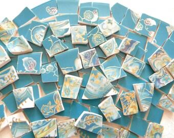Broken China Mosaic TEAL and GOLD Tiles - 110 Tiles