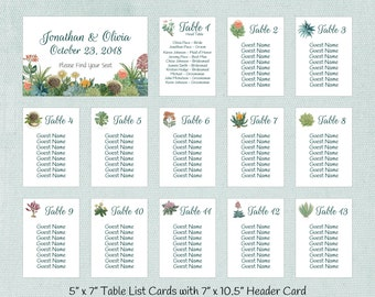 Succulent Seating Charts, Table Seating Assignment Cards, Seating Information, Guest Seating Charts, Wedding Table List, S101