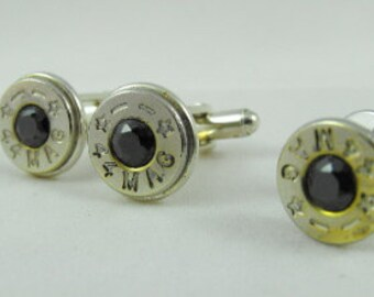 Rustic western bullet cufflinks faceted onyx and nickel plated brass Starline 44 mag