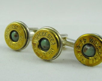 Rustic western bullet cufflinks Kingman turquoise and brass Winchester 44-40