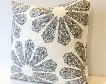 Black, gray and white boho medallion block print decorative pillow cover