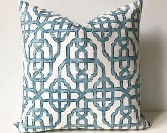 SALE Both sides, Navy blue trellis decorative pillow cover, imperial lattice pillow