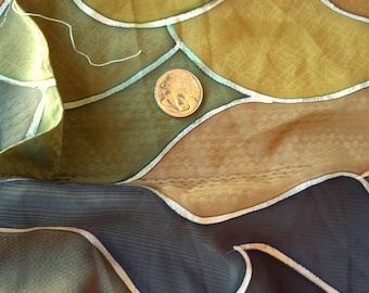"""Vintage Japanese silk kimono fabric 101 cm x 36 cm /40"""" x 14""""  roketsuzome autumn greens"""