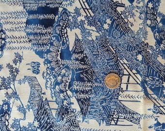 "Vintage Japanese silk chirimen crepe kimono fabric 101 cm x 36 cm 40"" x 14""  blue and white scenery"