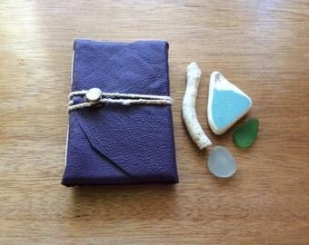 Mini Purple Pocket Journal-Leather-Handmade-Vintage Button