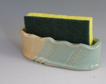 Sponge holder - green and yellow - kitchen storage - ready to ship
