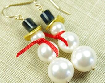 Snowman Earrings Swarovski Pearl Black Onyx Gemstone Gold Fill Dangle Beaded Winter Holiday Christmas December Wedding Red White Jewelry