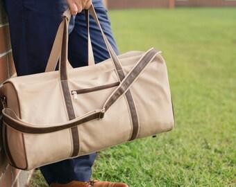 Men's Weekender Bag - Initials Canvas Bag - Monogram Bag - Men's Travel Bag - Mens Initials Tote - Mens Gym Bag - Mens Duffel - Gift for Him