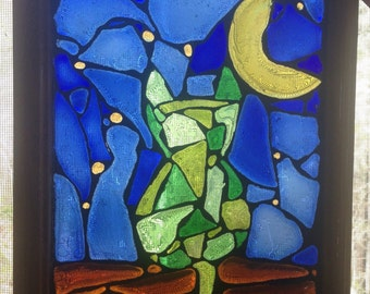 """Recycled glass mosaic cat on a starry night 12 1/2""""x9 1/2"""""""