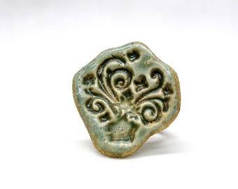 Handmade ceramic ring, green textured ring, stamped clay jewelry,  stoneware clay, clay jewelry, Adjustable ring. One of a kind
