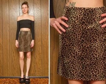 Vintage 90s Funky Swirl Club Kid Raver Faux Fur Fuzzy Furry Leopard Cheetah Brown Tan Black Wavy Print Animal Print Mini Skirt M L 10