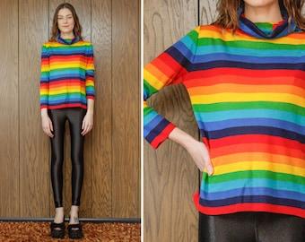 Vintage 70s 90s You Babes Thin Lightweight LBGTQ Rainbow Striped Preppy Geometric Stripe Slouch Long Sleeve Mock Turtleneck Blouse Top S M L
