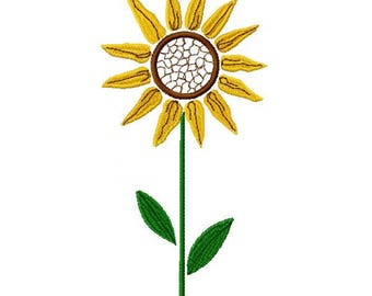 Small Sunflower Embroidery Design - Instant Download