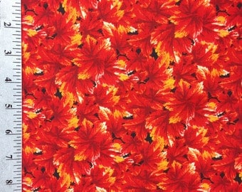 Orange Leaf Fabric by the yard / Bright Orange Autumn Leaves by Springs Global / 100% Cotton Fabric