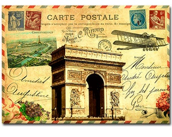 French ephemera collage - vintage travel postcard art print