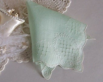 Wedding Handkerchief for a Bride, Something Old Hanky in Green, Vintage Lace Work, Wedding Shower Gift for Happy Tears