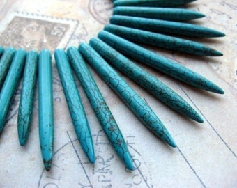 Graduate Turquoise Stick Beads
