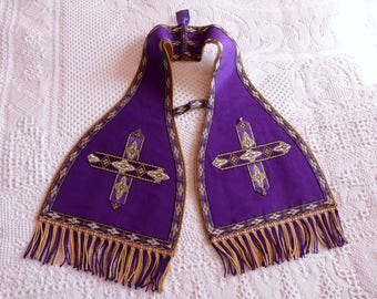 Antique French 1900s priest maniple silk clergy maniple w crosses, fringes, French religious church clothing costume fabric clergy vestment
