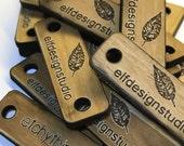 """Custom Wood Tags, Branding Tags, Logo Tags, 1.5"""" x 0.5"""" (38x12mm)"""