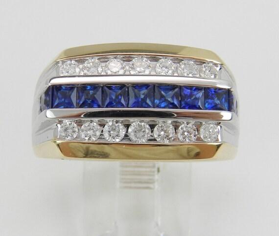 14K White Yellow Gold Mens Diamond and Sapphire Wedding Ring Anniversary Band