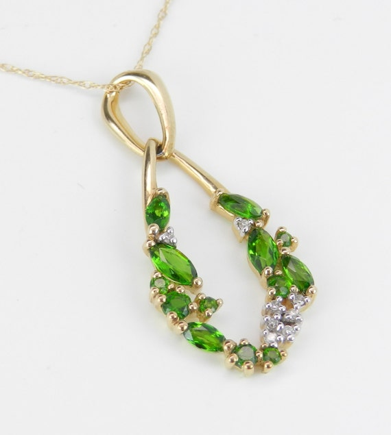 """Diamond and Green Chrome Diopside Pendant Necklace 14K Yellow Gold 18"""" Chain"""