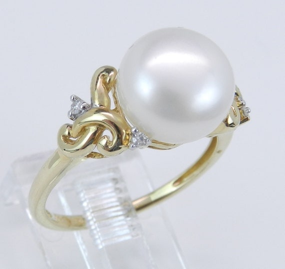 Diamond and Pearl Engagement Ring Promise Ring Size 7 June Birthstone 14K Yellow Gold