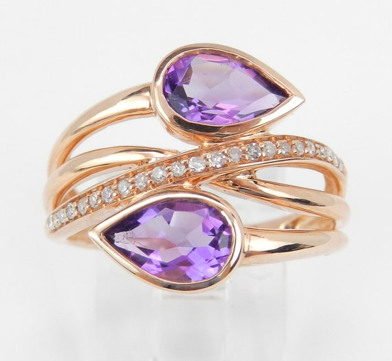 Diamond and Amethyst Cocktail Bypass Ring 14K Rose Gold Size 7 February Birthday