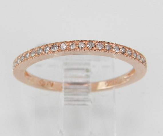 Diamond Wedding Ring Anniversary Band 14K Rose Gold Size 7 Stackable Eternity