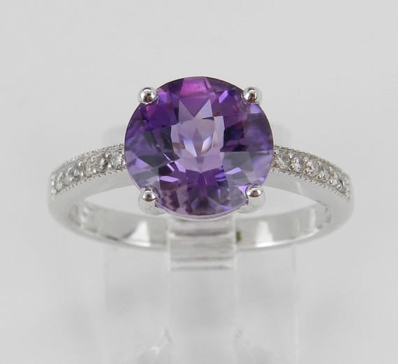 2.60 ct Diamond and Amethyst Engagement Promise Ring Size 7 White Gold February Gem
