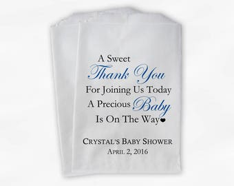 Sweet Thank You Baby Shower Candy Buffet Treat Bags - Set of 25 Royal Blue Personalized Favor Bags (0108)