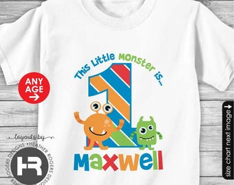 Little Monster Birthday Shirt or Bodysuit - Made for ANY AGE - Personalized with child's age and name