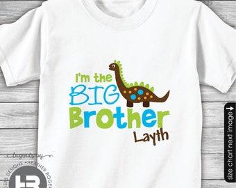 Dinosaur Big Brother Shirt or Bodysuit Big Brother Tshirt Personalized Big Brother to be Shirt - Dinosaur Birthday Shirt