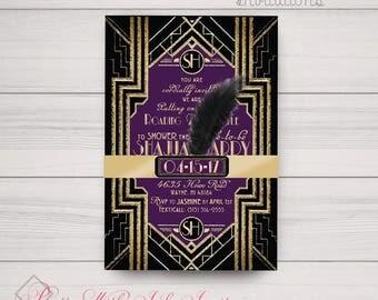 Shower, Sweet 16, Wedding, Birthday, Prom, Invitations: Gatsby, Black, Gold, Purple, Monogram, Classy, Feather. Printing & Digital Available