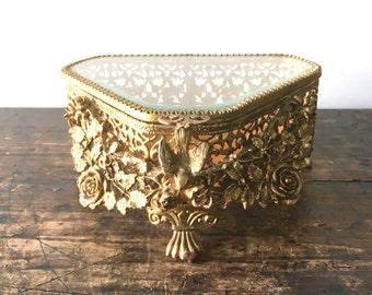 Regency Ornate Ormolu Gold Filigree Triangle Jewelry Box with Bird and Roses