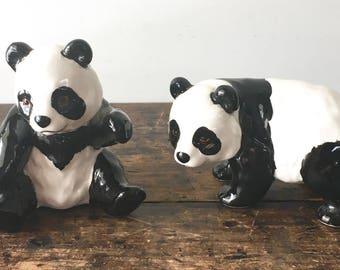 Vintage Pair of Panda Figurines, Made in Japan