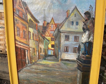 neat old antique vintage 1949 artist signed STREET BUILDINGS oil PAINTING on canvas