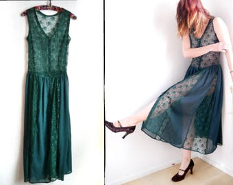 80s 90s Lace dress Vintage green lace sheer lace button down dress bohemian goth sleeveless tunic