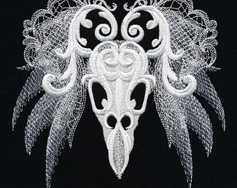 Ghost Baroque - Bird Skull Embroidered on Black Plain Weave Cotton Dish Towel // Also Available on Other Items