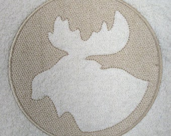 Moose Embossed Design Embroidered on Hand or Bath Towel