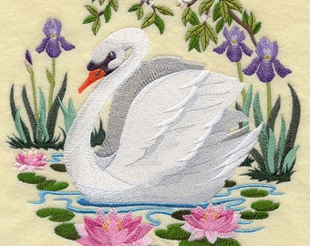 Swan Scene Embroidered on Kona Cotton Quilt Block // Plain Weave Cotton Dish Towel // Also Available on Other Items