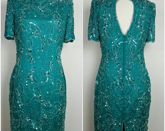 Turquoise Bead and Sequin Short Dress. Open back. S/M