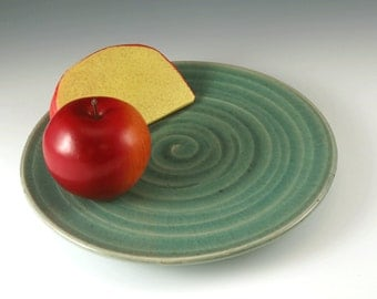 Serving Plate- Pottery Plate - Pottery Dinner Plate - Ceramic Cheese Plate - Handmade Plate - Pottery Dish - Green Pottery Plate - P101