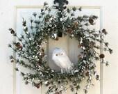 BLACK Friday CYBER Monday Artificial Pine Wreath - Christmas Gift -  Winter Wreath -  Owl Wreath -  Home Decor - Winter Wreaths - Cabin Deco