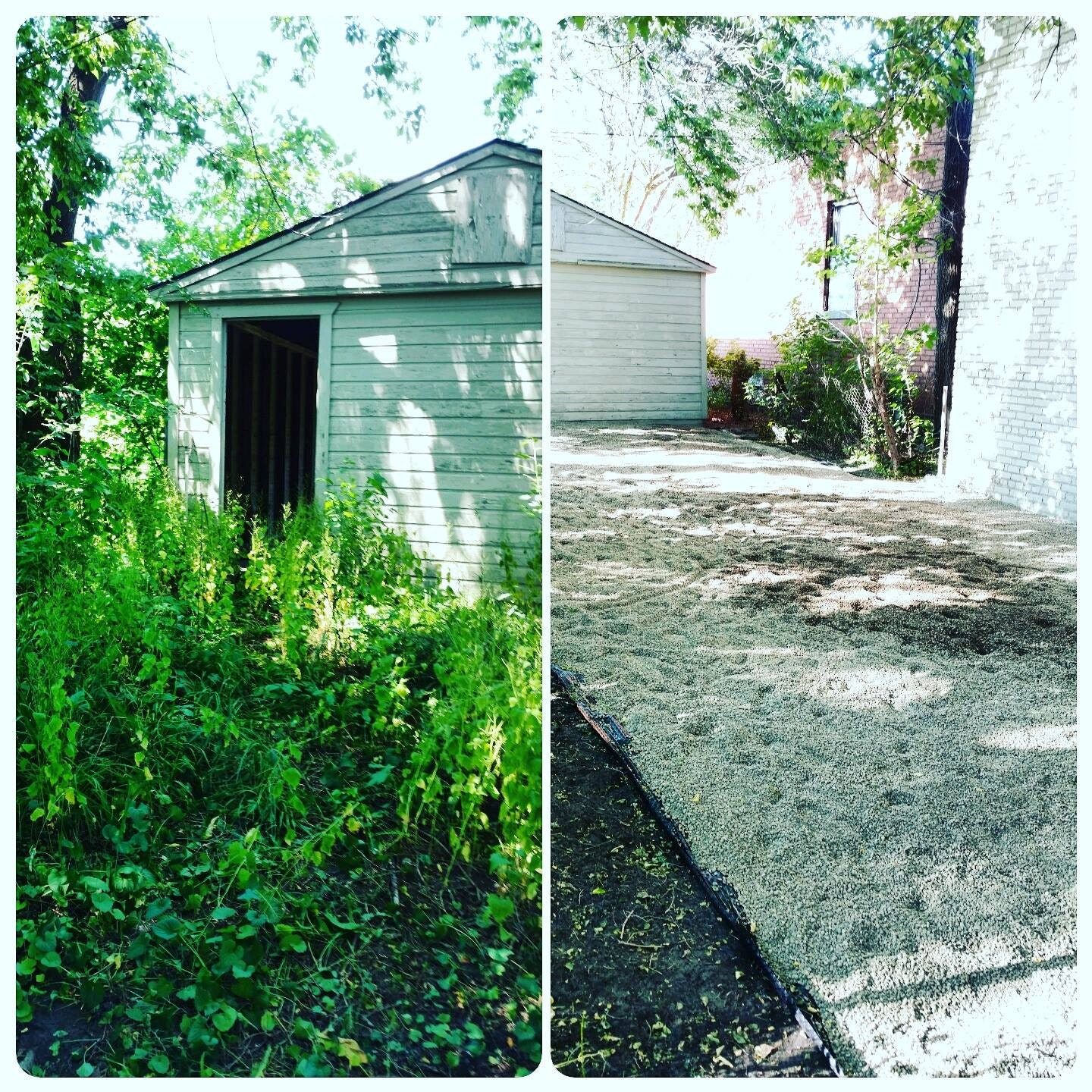 Before and after some back breaking yard work in Detroit